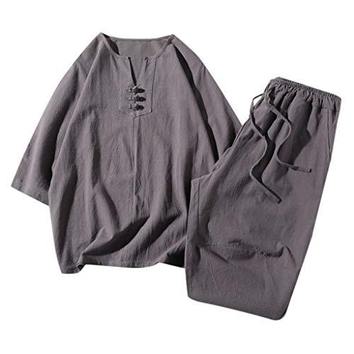 UINGKID Herren Short-Jogginganzug Shortanzug Sportanzug Baumwolle und Leinen Kurzarm Shorts Set Anzug