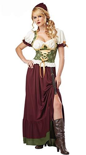 WSJDE Angekommenes Oktoberfest Cosplay Kostüm Bayerisches Oktoberfest Deutsches Festival Bier Cosplay Halloween Kostüm für Damen lose Kleider XXL Schwarz