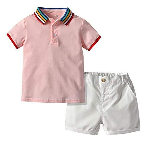 Zylione Kinder Kleidung Set Junge Baby Kurzarm Regenbogen Kragen Volltonfarbe Hemd Hemd + Volltonfarbe Shorts Sport Anzug Gentleman geladen Kindertagesgeschenk