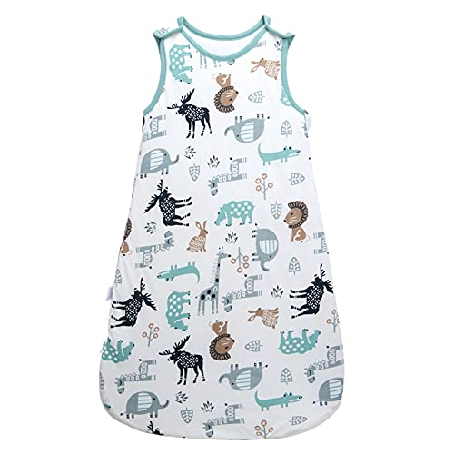 Bebamour Tragbarer Schlafsack für 0-18 Monate Kinder 100% Baumwolldecken für Baby Verstellbarer Wickel für Neugeborene (Blue)