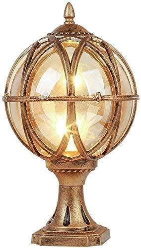 Zhangl LED Traditional Victorian Globe Column Light Lantern Classic Aluminium Die-Casting Glass Outdoor Waterproof E27 Pillar Post Lamps Creative Ball Courtyard Patio Porch Gate Landscape Street Light