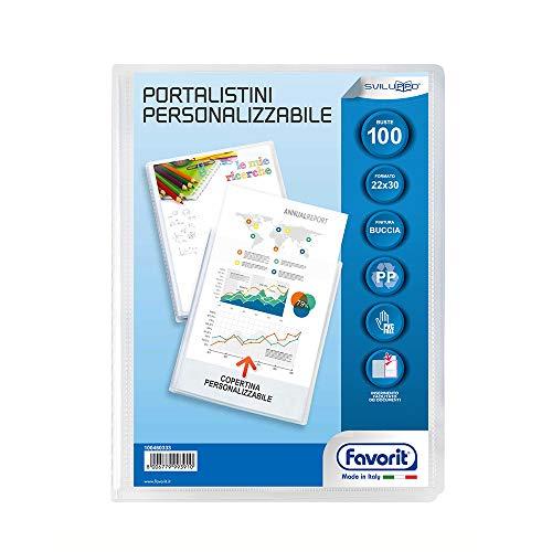 Favorit Portalistino Personalizzabile con 100 Buste Formato Interno 22 X 30 cm, Copertina con Tasca, Trasparente