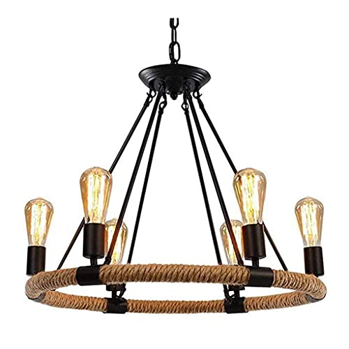 HTZ-M Lámpara Colgante de Cuerda de cáñamo Retro Lámpara Colgante Lámpara de Techo Redonda Vintage, E27 Iluminación Industrial Lámpara de araña Ajustable en Altura para Restaurante, Bar, cafetería,
