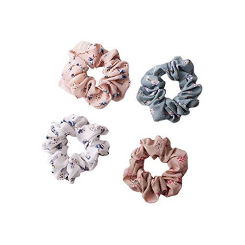 Beaupretty Haargummis Floral Chiffon-Muster Elastisches Haarband Haar Bobbles Haarbänder Haarschmuck für Frauen Mädchen 4 STÜCKE (4 Farben)