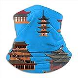 AEMAPE Dibujos Animados Tradicional asiática casa Cuello Calentador Sombreros Anchos Diademas Bufanda Abrigo para la Cabeza, Diadema de Polaina para el Cuello, pañuelo Facial