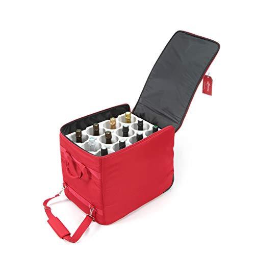 LAZENNE Weinkoffer - Reisetasche für 12 Weinflaschen - Isolierte Kühltasche kombiniert mit leichtem Hartschalen-Reisekoffer - TSA-konformer Wein-Transport (Rot)