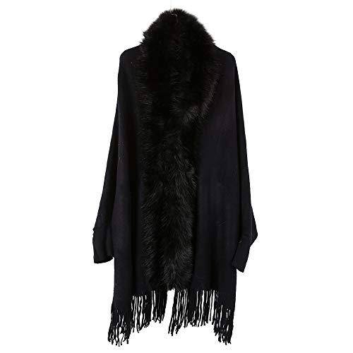 LIULIFE Herbst Winter Cape Poncho Mode Damen Mantel Strickjacke Pelzkragen Schal Einfarbig Mit Ärmeln Lange Quaste Saum Mantel,Black-88 * 68cm