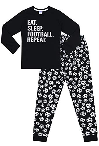 The Pyjama Factory Boys Eat Sleep Football Repeat Long Cotton Pyjamas (11-12 Years) Black