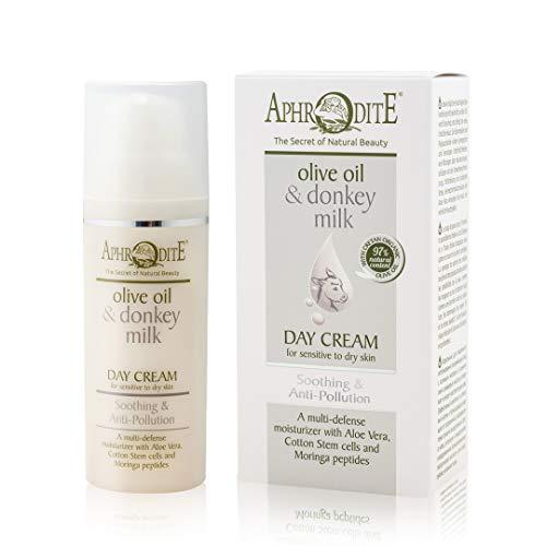 Crema de día calmante anticontaminación Aphrodite. Hidratante Natural con Leche de Burra. Protege contra el daño de los rayos UV y los factores estresantes ambientales (50 ml / 1.70 fl oz)