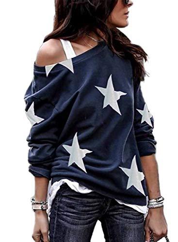 LOSRLY Maglione da donna a girocollo a maniche lunghe, con spalle scoperte, stile casual, con stampa a stelle a cinque punte Blu L