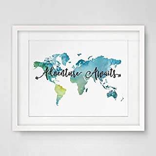 Adventure Awaits Teal World Map Painting Watercolor Art Print Travel Quote Wall Decor Wall Hanging The World Map Decor 8x10 inch No Frame