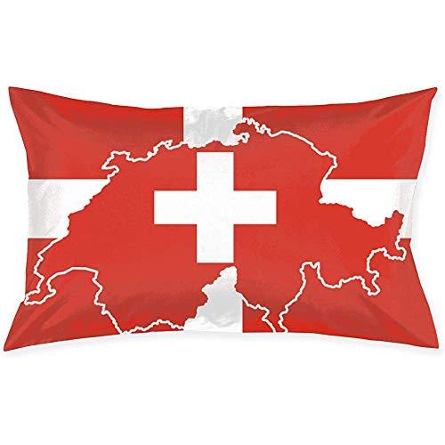 Niet van toepassing Kussenslopen Zwitserse Kaart Vlag Standaard Kussenslopen 20 x 30 Inch