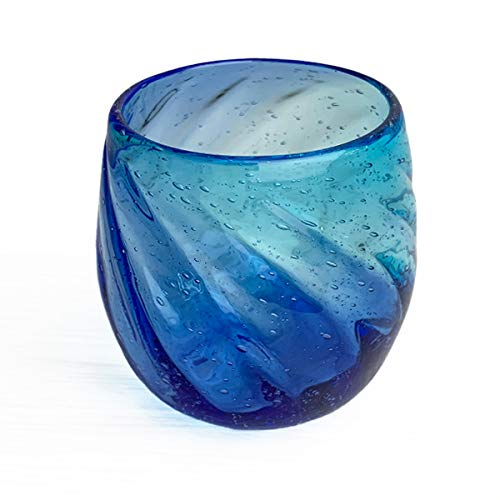 冷茶グラス コップ カップ 琉球ガラス グラス 美ら海タルグラス (ライトブルー×ブルー)