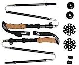 Ultra Lightweight Carbon Fiber Trekking Poles - 2 Pack Adjustable Folding Hiking Pole or Walking Sticks - Strong, - Cork Grip, Padded Strap
