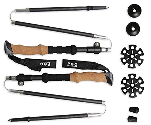 Ultra Lightweight Carbon Fiber Trekking Poles – 2 Pack Adjustable Folding Hiking Pole or Walking Sticks – Strong, – Cork Grip, Padded Strap