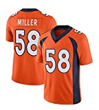 Maillot de Football américain Maillot de Rugby Von Miller, Denver Broncos # 58 Sweat-Shirt d'entraînement pour Homme Édition brodée Gym Vest Sports Top-Orange-M(175cm/60~70kg)