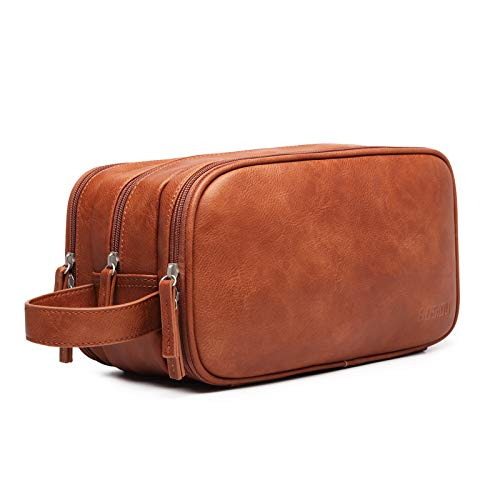 Leather Toiletry Bag for Men, Travel Wash Bag Hanging Makeup Bag Waterproof Gym Shaving...
