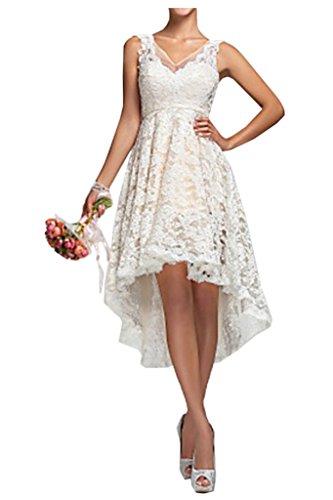 Victory Bridal Vintag Spitze V Ausschnitt Damen Hochzeitskleider Brautkleider Hi-lo Wadenlang Brautmode Lang-40 Weiss