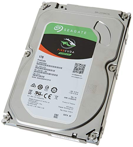 Seagate FireCuda 1 TB Hybride Festplatte intern (8, 9 cm (3, 5 Zoll), SATA 6 Gb/s, silber) Modellnr.: ST1000DXZ02, FFP
