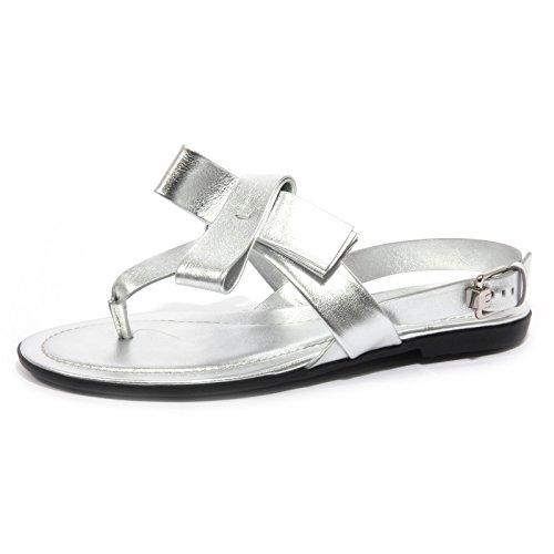 Tod's B1563 Infradito Donna Sandalo Fiocco Argento Flip Flops Shoe Woman [35]