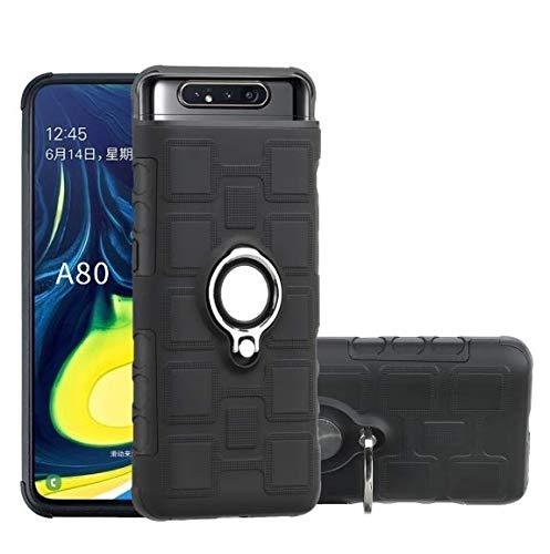 Coque Samsung Galaxy A80, Slim Fit TPU avec Support de BagueSilicone Gel Anti Mince Placage Bumper Housse Lustre Métal 360° Bague Support Téléphone Voiture Etui (noir)