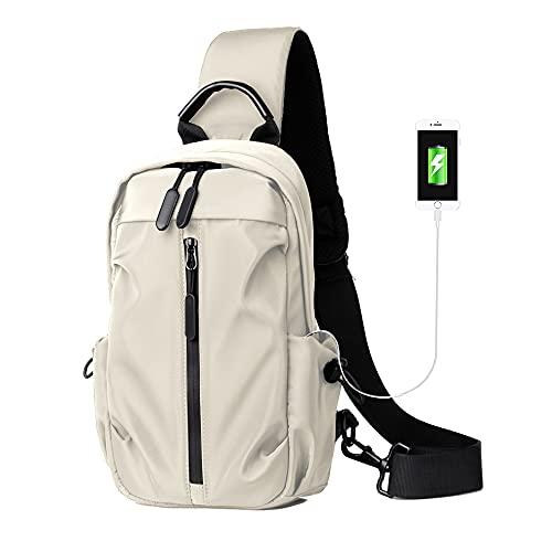 Sling Backpack Sling Bag Crossbody Backpack for Women Men Waterproof Chest Shoulder Bag Daypack for Hiking Walking Biking Travel Cycling USB Charger Port(B-White)