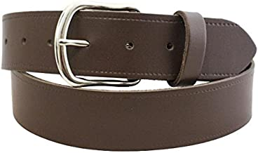 """MILANO MENS 1.5/"""" REAL FULL GRAIN LEATHER BELTS SILVER BUCKLE BLACK BROWN ML2920"""