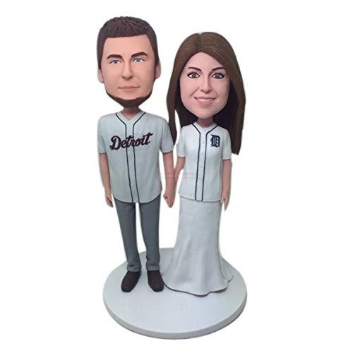Detroit Tigers benutzerdefinierte Bobble Head Freundin Freund Geschenk personalisierte Ton Figur Baseball Hochzeitstorte Topper Tiger personalisierte Geschenk