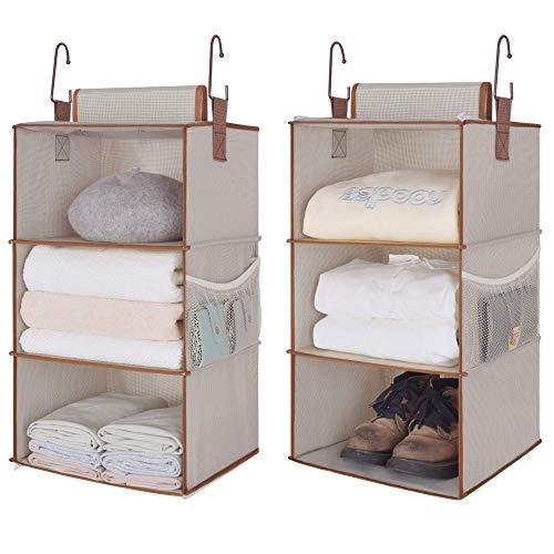 StorageWorks 6-Shelf Hanging Closet Organizers Two 3-Shelf Separable Closet Hanging Shelves Canvas Light Brown 12 W x 12 D x 42 H