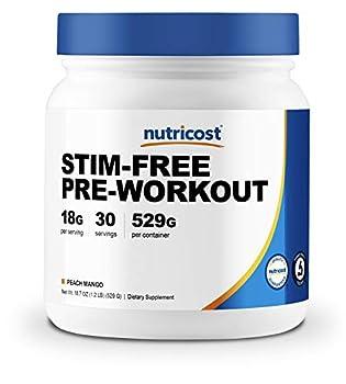 Nutricost Stim-Free Pre-Workout 30 Servings  Peach Mango  - Non-GMO Gluten Free