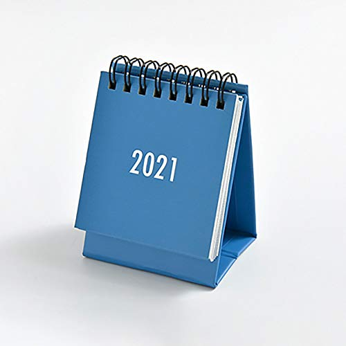UNIVIEW 2pcs Nette kreative 2020 2021 Art-Mini-Desktop-Tischkalender Persönlichkeit Dekoration Arbeit Hinweis Kalender Neuer Jahresplan Zeitplan (Color : Blue)