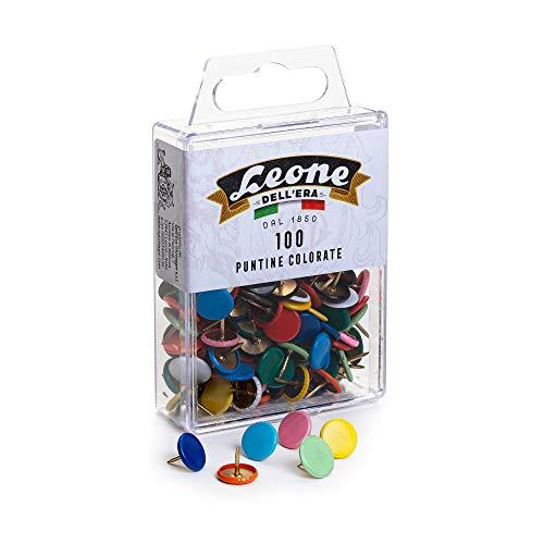 100 Puntine colorate Leone Dell'Era - Scatola appendibile - Made in Italy