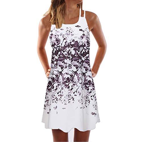 DressLksnf Vestido Mujeres Estampado Floral Vestido Corto Fuera del Hombro Vestido de Fiesta de Vacaciones Tirantes Finos Sexy Falda Mini Falda de Playa
