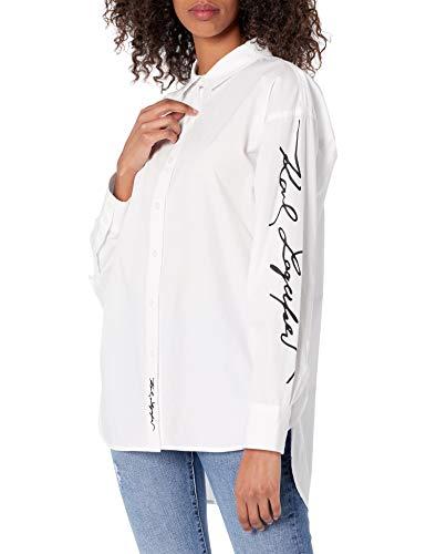 Karl Lagerfeld Paris Damen Oversized Blouse Button Down Hemd, Weiß (Soft White),...
