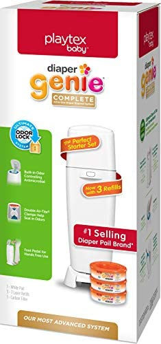 Playtex Diaper Genie Complete Diaper Pail with Built in Odor Controlling Antimicrobial Includes product image