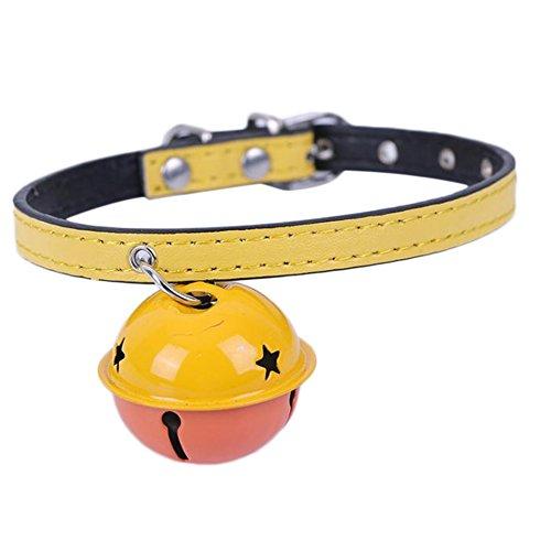Demarkt Collar para perros de piel sintética con campana, 31 x 1 cm, color amarillo