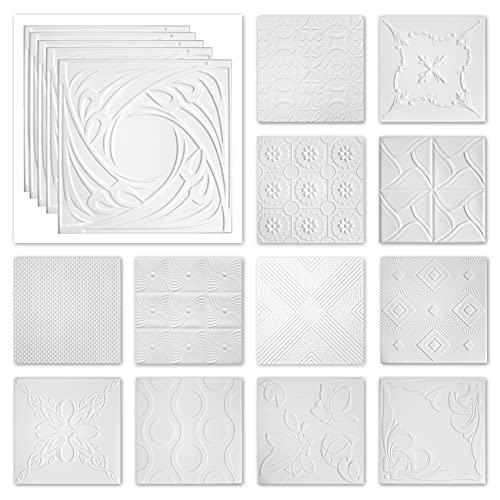 Paneles de techo de poliestireno XPS – Paneles de techo blancos fáciles de limpiar y robustos – (paquete ahorro de 10 QM NR.116 50 x 50 cm) para entornos húmedos de techo o pared