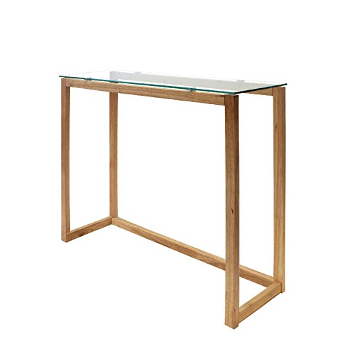 THE HOME DECO FACTORY Consola, Madera y Cristal, Transparent-Marron, 100 x...