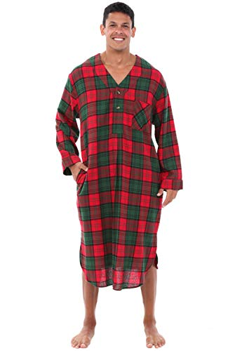 Alexander Del Rossa Men's Lightweight Flannel Sleep Shirt, Long Henley Nightshirt Pajamas, Large Red and Green Plaid (A0542Q03LG)