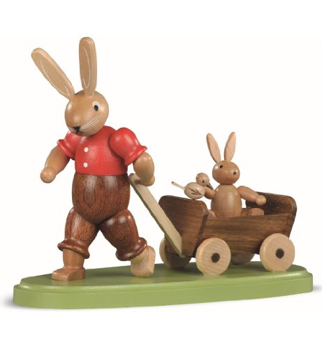 Müller Easter bunny, male, father with child on carriage, height 11 cm / 4 inch, coloured, original Erzgebirge by Mueller Seiffen