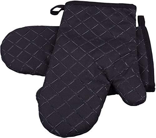 Topfhandschuhe, Comius Sharp1 Paar Ofenhandschuhe Baumwolle Anti-Rutsch Küche Backofen Handschuhe Hitzebeständig Topfhandschuhe Topflappen Für Kochen Backen Barbecue (Black)