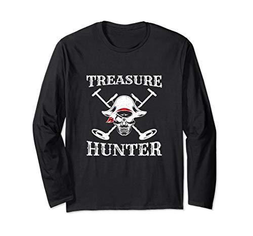 Hidden Treasure Hunter Pirate - Metal Detector Gold Coins Long Sleeve T-Shirt