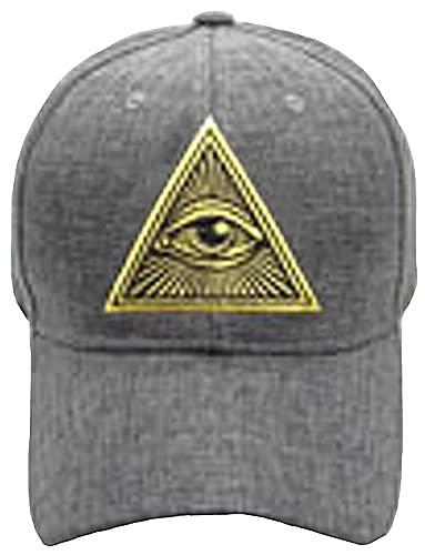 Mason Hat, Eye of Providence Freemason Baseball Cap, Gold Pyramid and Charcoal Gray