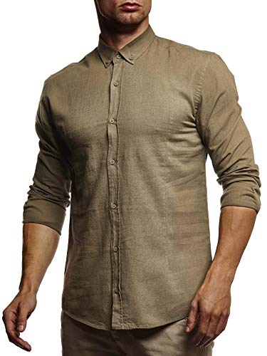 Leif Nelson Herren Leinenhemd Hemd Leinen Kurzarm T-Shirt Oversize Stehkragen Männer Freizeithemd Sommerhemd Regular Fit Basic Shirt Kurzarmshirt Freizeit Sweater LN3875 Khaki X-Large