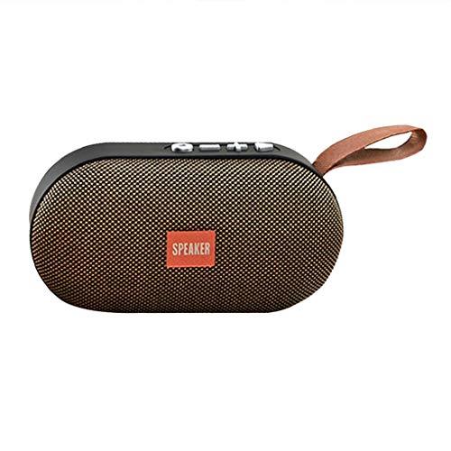 rongweiwang Bluetooth 4.2 Altavoz HiFi SD Radio SoundBox USB Media Reproductor de Sonido estéreo inalámbrico Radio de Sonido Auxiliar, marrón