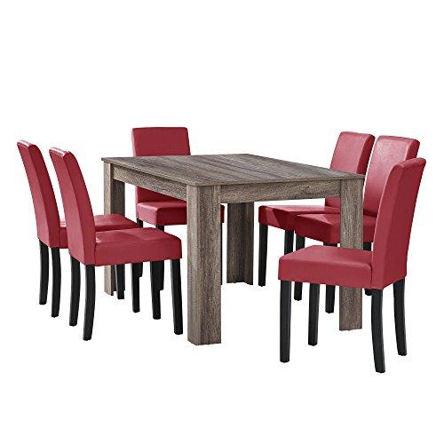 [en.casa] Eethoek - bruine eettafel met 6 rode stoel - 90x37-42x48