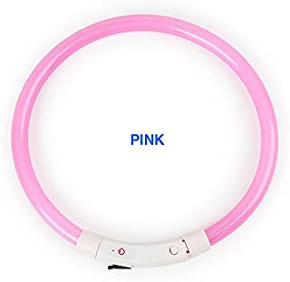 New Tech Junkies Rechargeable Tube LED PET Glow Collar Safety Adjustable Flash Light-up for Dog Micro USB Charge Cable Inc...