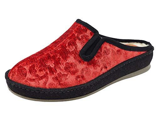 Schawos Filz Hausschuh für Damen, Qualitäts-Pantoffel, Made in Germany, mit anatomisch geformtem Fußbett und aktiver Fersendämpfung, Modell SP (41 EU, Rot (113W), Numeric_41)