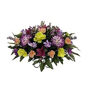 Spring Cemetery Flower Arrangement, Headstone Saddle, Grave, Tombstone Arrangement, Cemetery Flowers SS4199