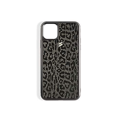 Suritt ® Funda para iPhone de Piel Negra con Print de Lepoardo Leo. (iPhone 11)